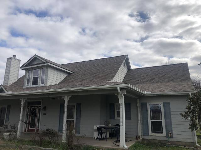 Burleson, TX - Total roof replacement and gutters with hylander malarky shingles due to hail and wind damage.