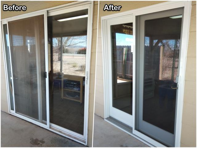 Hot Springs, SD - We replaced this old sliding patio door with this new RbA French patio door for this customer in Hot Springs!