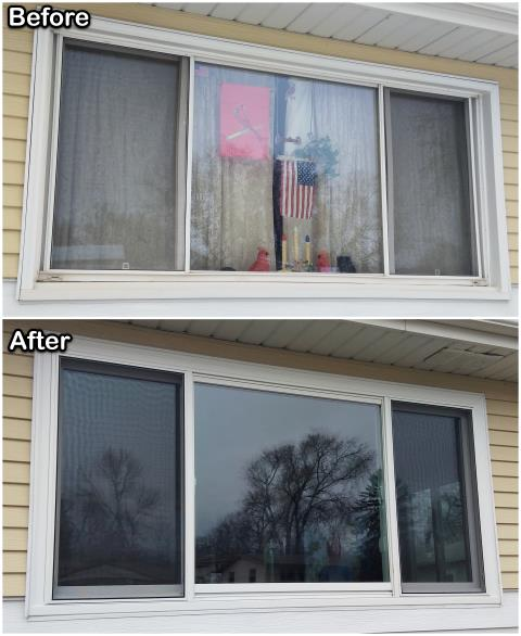 Rapid City, SD - We replaced these old vinyl windows with new Fibrex® windows on this home in Rapid City.