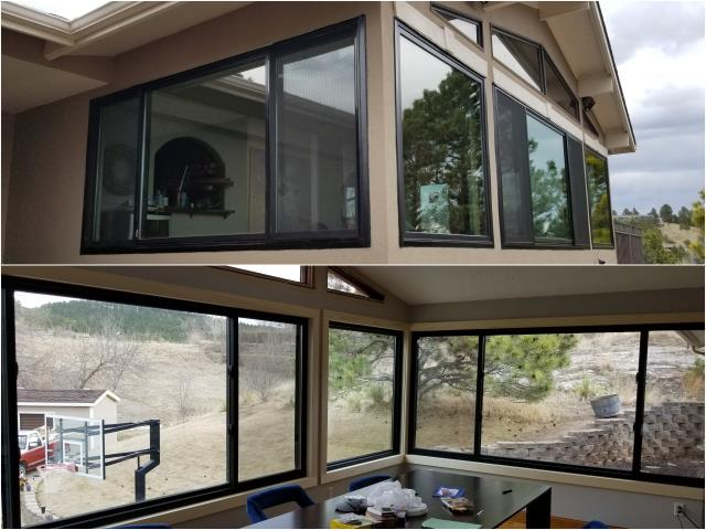 Rapid City, SD - This customer in Rapid City chose to replace their old windows with these stylish Black RbA Fibrex picture & gliding windows!