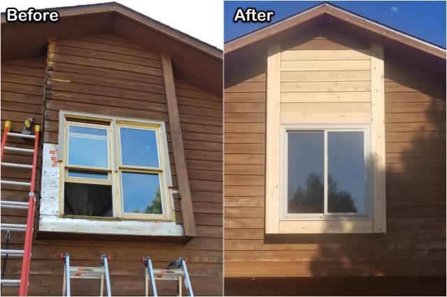 Rapid City, SD - We replaced these old double-hung windows with this new RbA Fibrex® gliding window for this homeowner in Rapid City!