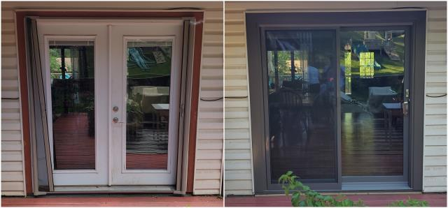 Rapid City, SD - What a stunning transformation done in Rapid City, these folks went from French Doors to our RbA Fibrex® Glider!