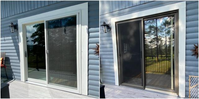 Rapid City, SD - We upgraded this old sliding door to our Perma-Shield® Gliding Patio Door with a black exterior trim!
