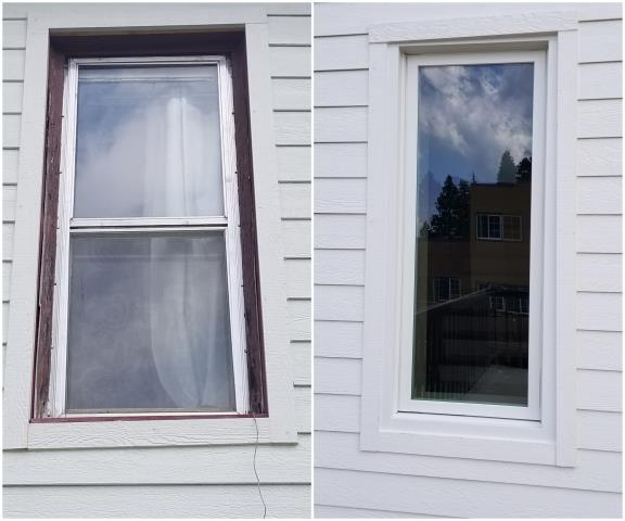 Lead, SD - We replaced this old window with our RbA Fibrex® Picture window with white exterior trim!