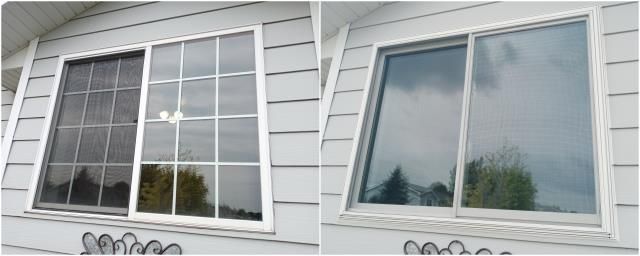 Rapid City, SD - We upgraded this old window in Rapid City to our RbA Fibrex® Gliding window with white trim!