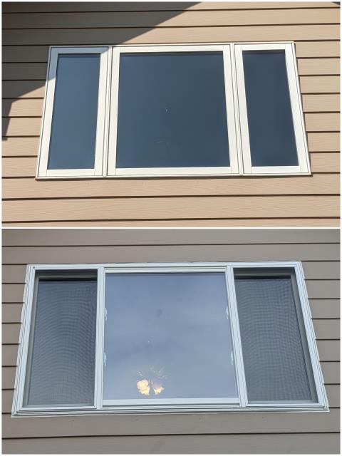 Rapid City, SD - Our team replaced this old window in Rapid City with our RbA Fibrex® Gliding Triple Window with a white exterior trim.