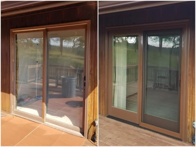 Rapid City, SD - Our team replaced this old patio door in Rapid City with our Narroline® Gliding Patio Door!