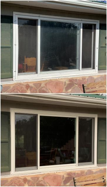 Hot Springs, SD - Our team took out this old window in Hot Springs and replaced it with a RbA Fibrex® Gliding Triple Window.