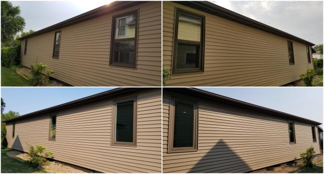 Pierre, SD - Our team went to Pierre and replaced these old double hung windows with RbA Fibrex® Picture windows with a Terratone exterior trim finish.
