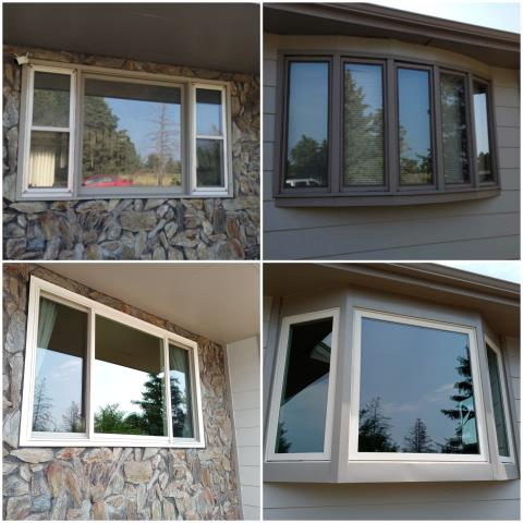 Rapid City, SD - Our team replaced these old windows in Rapid City with RbA Fibrex® Bay and Gliding Triple window, finished with a white exterior trim.