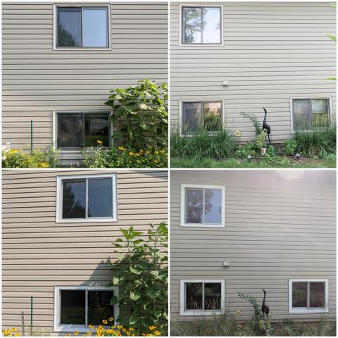 Rapid City, SD - Our team in Rapid City replaced these old windows with our RbA Fibrex® Gliding Windows, finished with a white exterior trim!