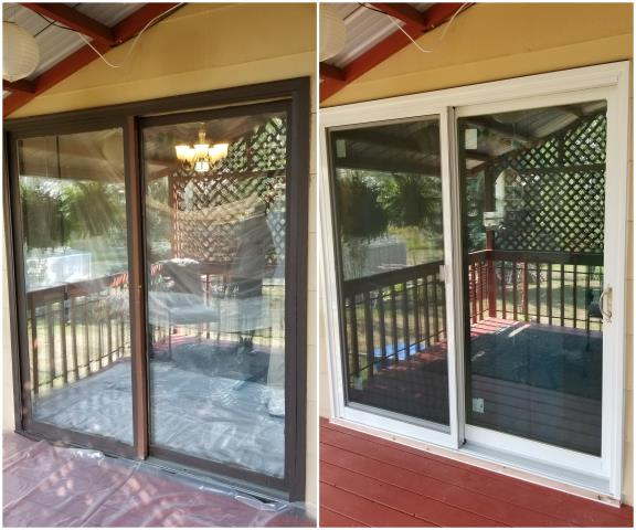 Belle Fourche, SD - Our team went to Belle Fourche and replaced this old sliding door with our RbA Narroline® Gliding Patio Door with a white exterior trim!