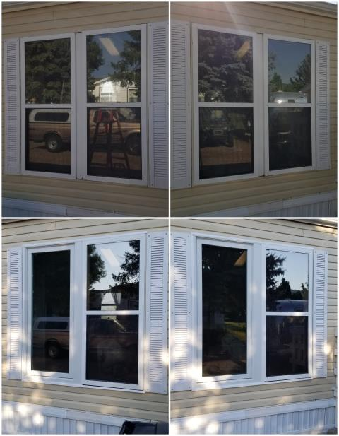 Rapid City, SD - We replaced these old windows in Rapid City with our RbA Fibrex® Picture and Double-Hung Windows with a white exterior finish!