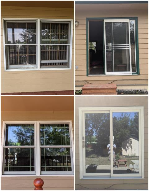Rapid City, SD - Our team went to Rapid City and replaced these old windows and sliding door. The new windows are RbA Fibrex® Double-Hung Windows with a Modified Prairie Grille pattern finished with a white exterior trim. The new door is Perma-Shield® Gliding Patio door also finished with a white exterior trim.