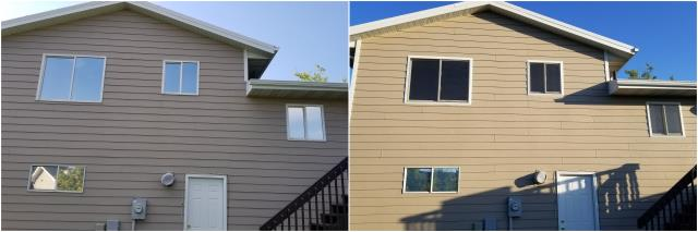 Rapid City, SD - Our team replaced these old windows in Rapid City with our RbA Fibrex® Gliding windows with a white exterior trim.