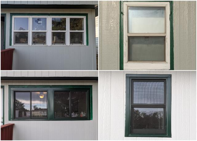 Rapid City, SD - Beautiful upgrade done in Rapid City! We replaced these old windows with our RbA Fibrex® Gliding & Double Hung windows finished with a Fiberglass Insect Screen and a forest green exterior trim.