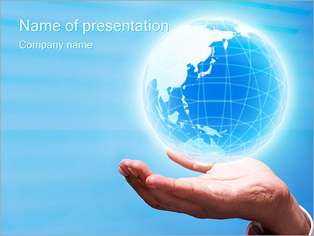 crystal globe powerpoint template & backgrounds id 0000000019, Powerpoint templates