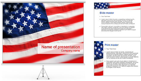 American Flag PowerPoint Template  Backgrounds ID 0000000254
