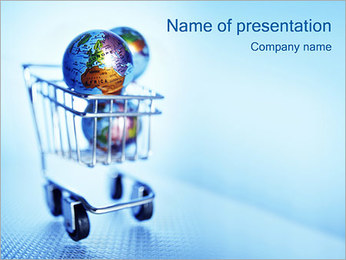 Shopping Cart with Globes PowerPoint Template - Slide 1