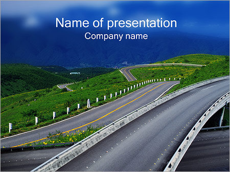 road powerpoint template & backgrounds id 0000000476, Modern powerpoint
