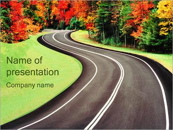 秋の道 PowerPointプレゼンテーションのテンプレート