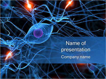 active nerve cell powerpoint template & backgrounds id 0000000644, Powerpoint templates