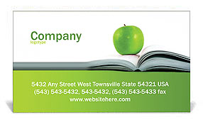 Green Apple & Book Business Card Template
