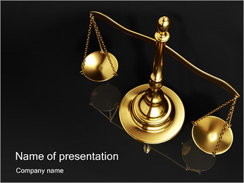 Golden Brass Scale Sjablonen PowerPoint presentatie