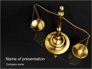 Golden Brass Scale PowerPoint Template