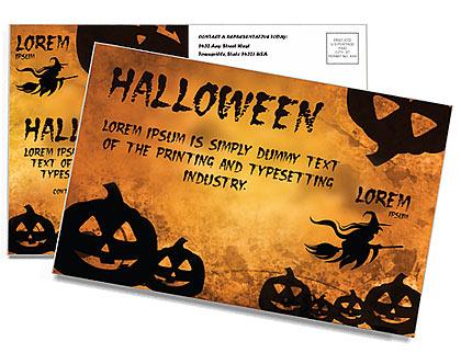 Jack-o-lantern Postcard Template