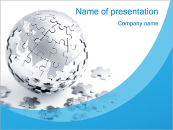 Blue World Puzzle PowerPoint Template