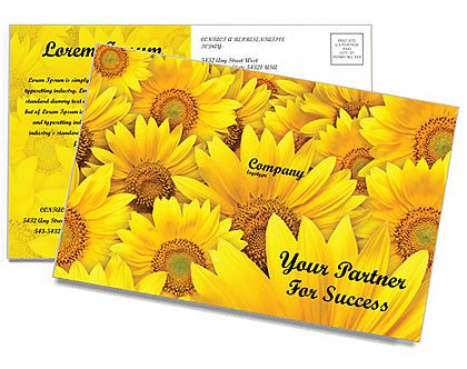 Sunflowers Postcard Template
