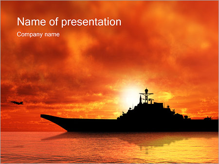 warship powerpoint template & backgrounds id 0000000848, Modern powerpoint