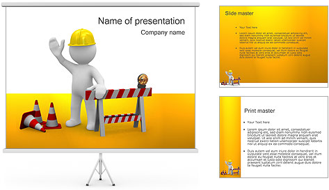 Under Construction & Trabalhador Modelos de apresentações PowerPoint
