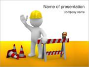 Under Construction & Worker Sjablonen PowerPoint presentatie