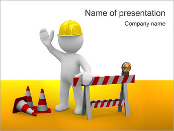 Under Construction & Trabalhador Modelos de apresentações PowerPoint - Slide 1