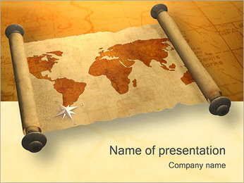 Vintage World Map Sjablonen PowerPoint presentatie