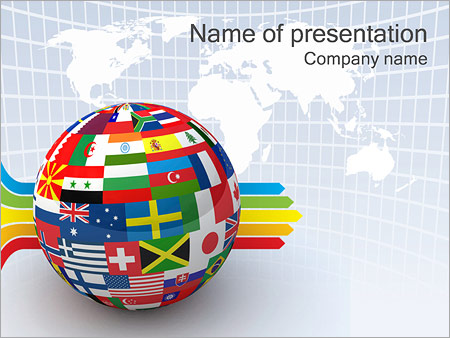 global world flags powerpoint template backgrounds google slides