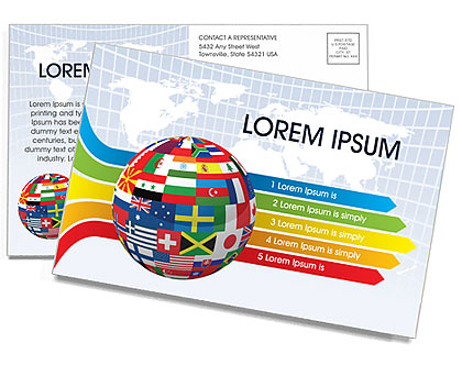 Global World Flags Postcard Template