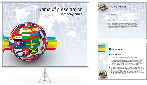 Global World Flags PowerPoint Template