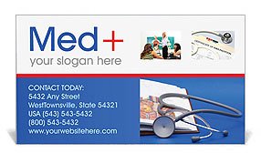 Stethoscope & Medicine Book Business Card Template