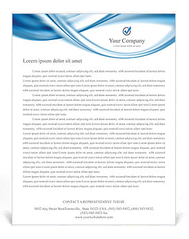 blue abstract waves letterhead template