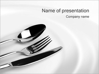 Fork Knife Spoon & Plate PowerPoint Template