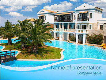 Villa with Swimming Pool PowerPoint Template
