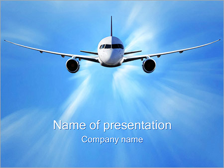 commercial airplane powerpoint template backgrounds google slides
