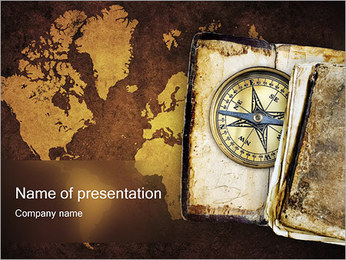 Compass & World Map PowerPoint Template