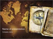 Kompas & World Map Sjablonen PowerPoint presentaties