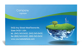 Globe with Wind Turbines Business Card Template