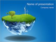 Globe with Wind Turbines PowerPoint Templates