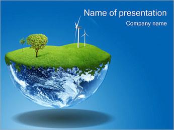 風力タービンとグローブ PowerPointプレゼンテーションのテンプレート